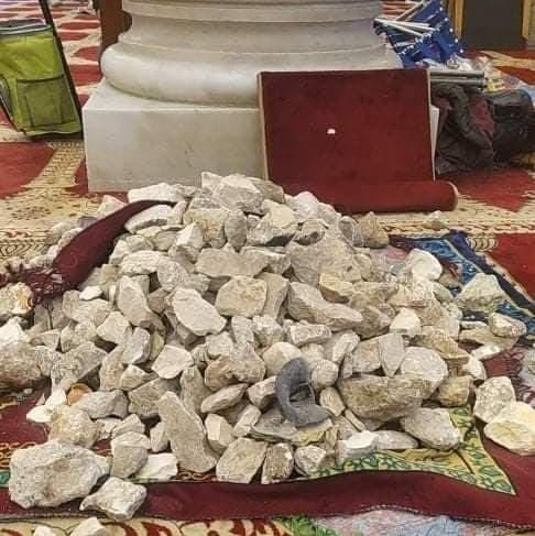 Steinbrocken in der Al-Aksa-Moschee
