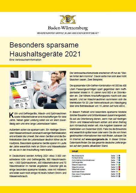 Das Bild zeigt die Titelseite der Broschüre Besonders sparsame Haushaltsgeräte 2021 / Quelle: Umweltministerium Baden-Württemberg