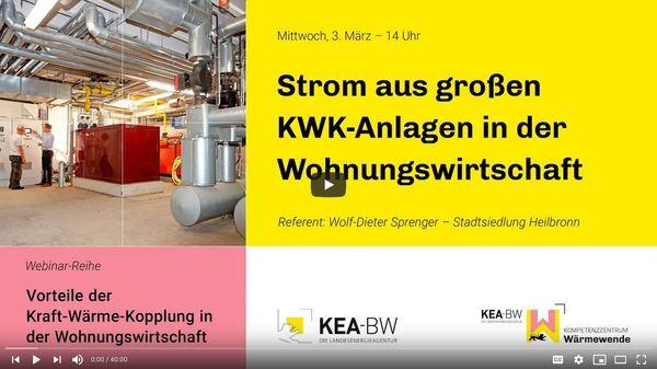 Cover-Folie zur Vortragsreihe Kraft-Wärme-Kopplung / Quelle: KEA-BW