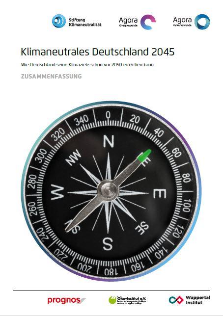 Das Bild zeigt die Titelseite der Studie Klimaneutrales Deutschland 2045 / Quelle: Agora