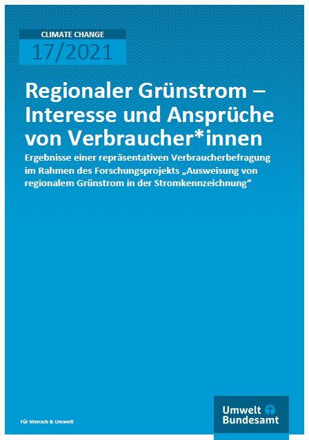 Das Bild zeigt die Titelseite der Studie Regionaler Grünstrom / Quelle: Umweltbundesamt