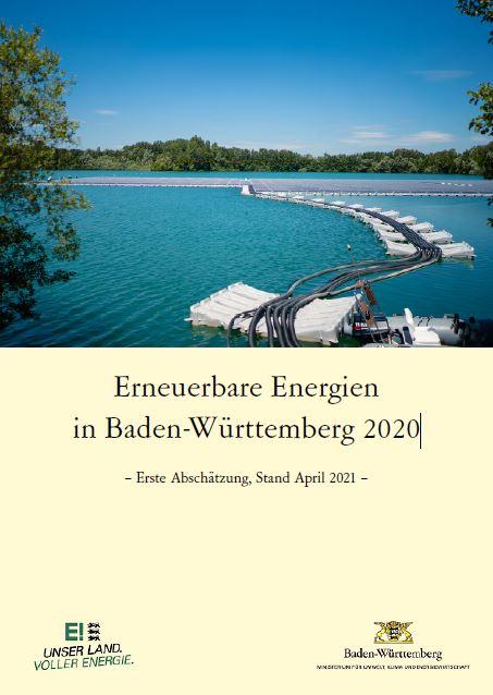 Das Bild zeigt die Titelseite der Studie Erneuerbare Energien in Baden-Württemberg 2020 / Quelle: Ministerium für Umwelt, Klima und Energiewirtschaft