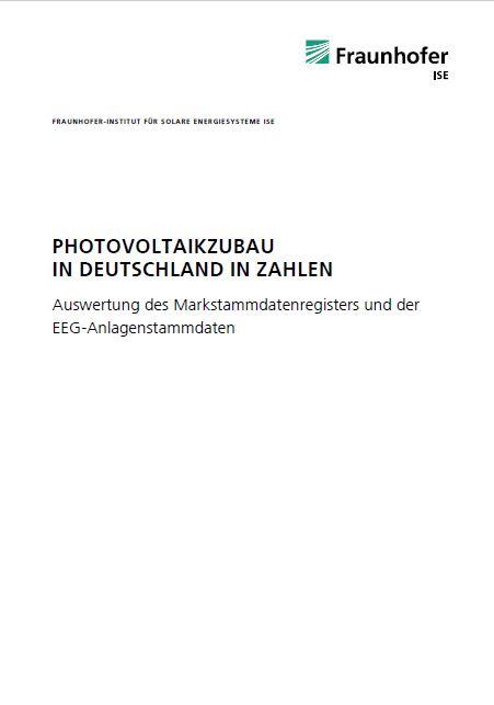 Das Bild zeigt die Titelseite der Kurzstudie vom Fraunhofer ISE zum PV-Zubau in Deutschland / Quelle: Fraunhofer-Institut für Solare Energiesysteme ISE
